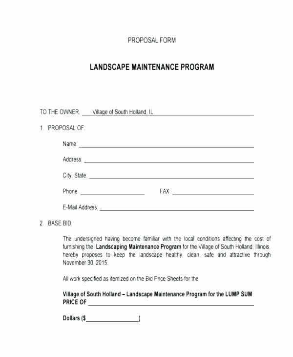 Landscaping Scope Of Work Template Awesome Mercial Lawn Maintenance Proposal Elegant Mercial