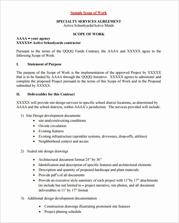 Landscaping Scope Of Work Template Best Of Scope Of Work Template 36 Free Word Pdf Documents