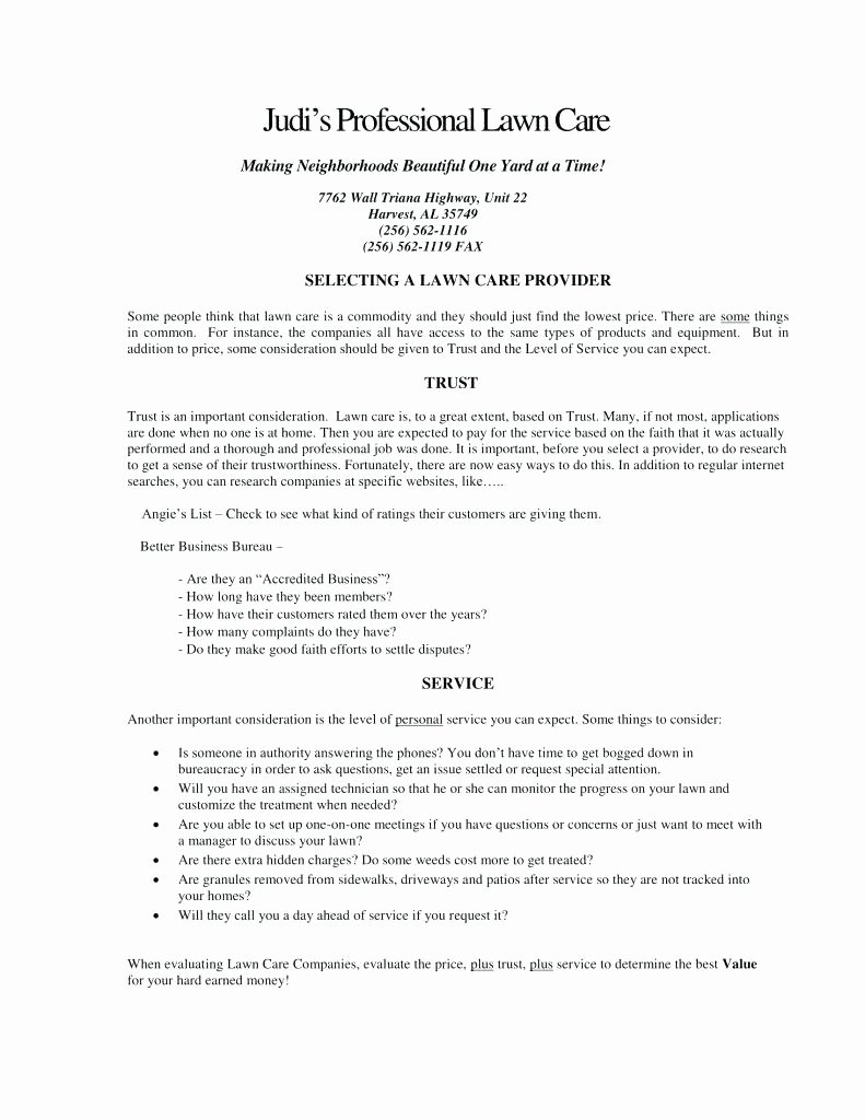 Landscaping Scope Of Work Template Fresh Landscaping Scope Work Template