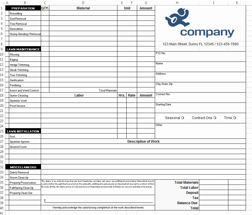 Landscaping Work order Template Awesome How to Design A Landscaping form In Excel