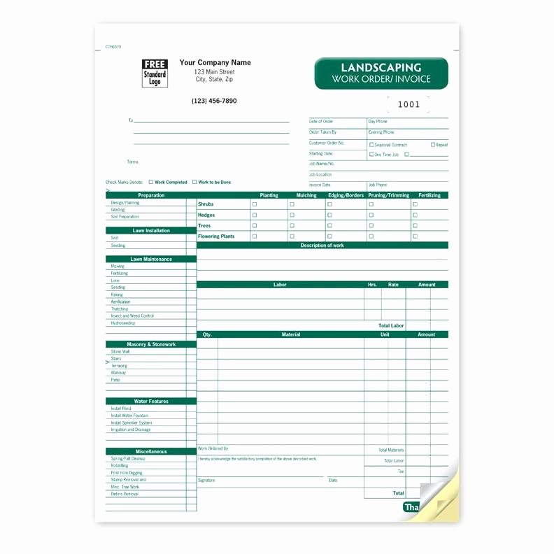 Landscaping Work order Template Awesome Product Details