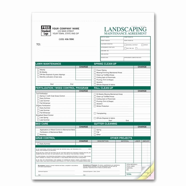 Landscaping Work order Template Beautiful Landscaping Work order