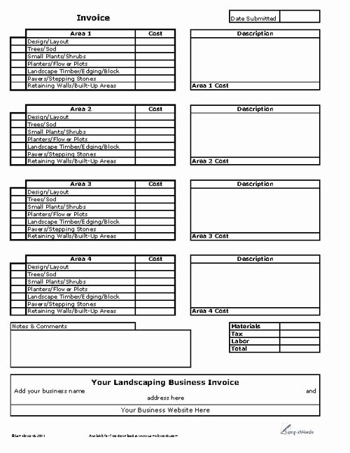 Landscaping Work order Template Best Of Landscaping Invoice Template Denryokufo