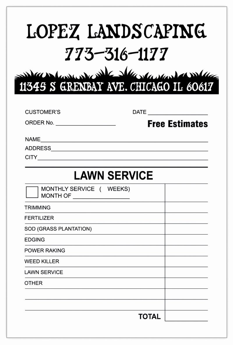 Landscaping Work order Template Elegant Landscaping Invoice Template