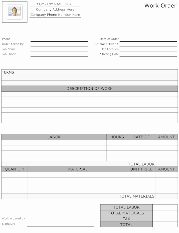Landscaping Work order Template Fresh Example Image Maintenance Work order form Work