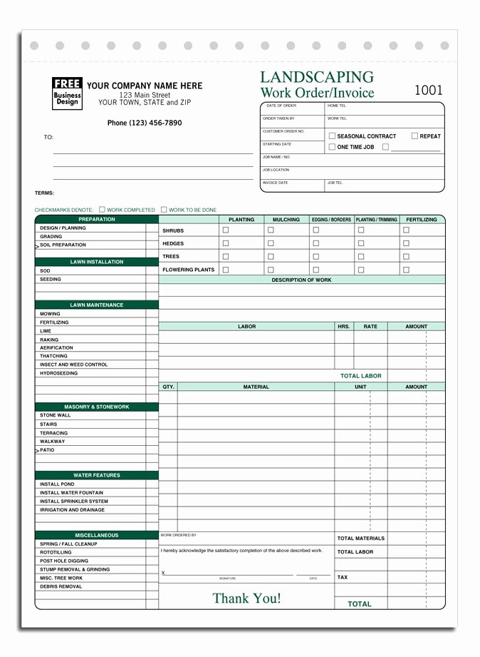 Landscaping Work order Template Lovely Free Lawn Care Invoice Template