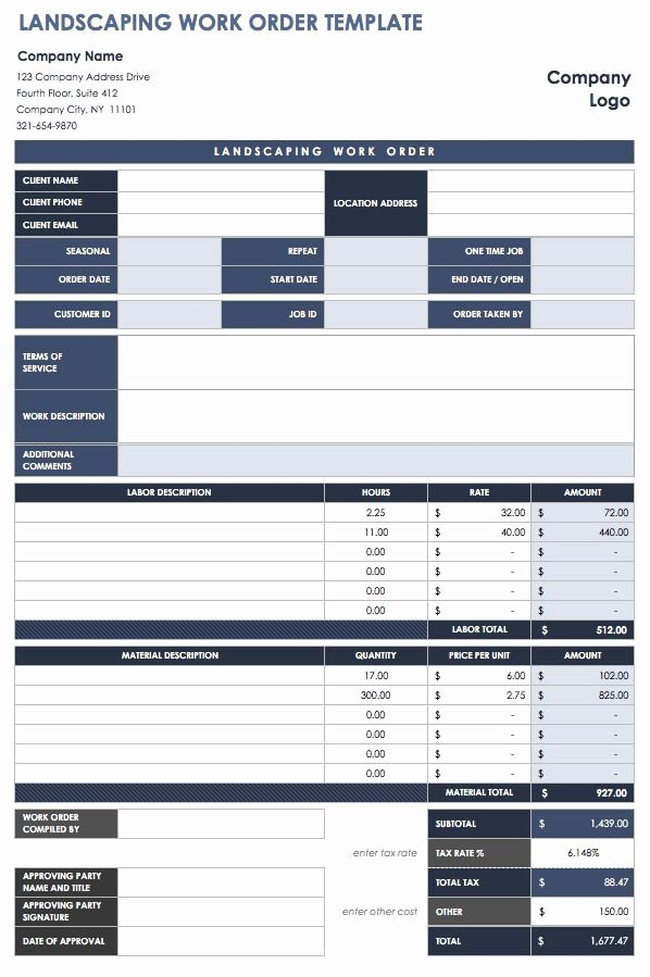 Landscaping Work order Template New 15 Free Work order Templates