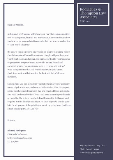 Law Firm Letterhead Template Best Of Personal Letterhead Templates Canva