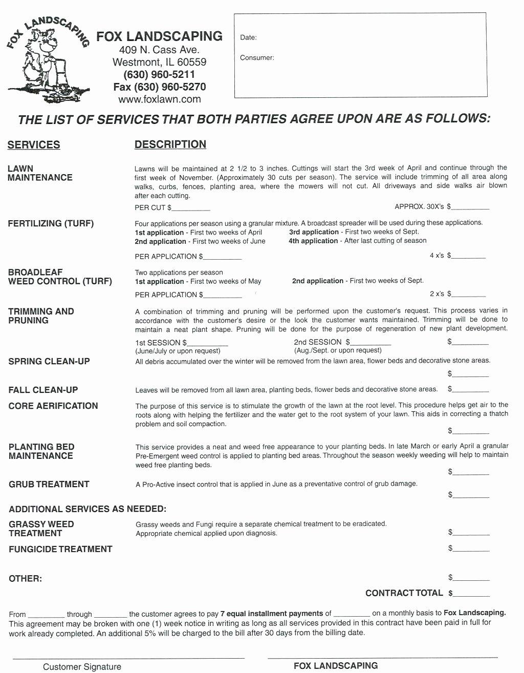 Lawn Care Bid Proposal Template Elegant Template Lawn Care Bid Template Maintenance Proposal