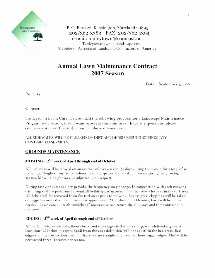 Lawn Care Bid Proposal Template Fresh Maintenance Proposal Template Sample Lawn Service Contract