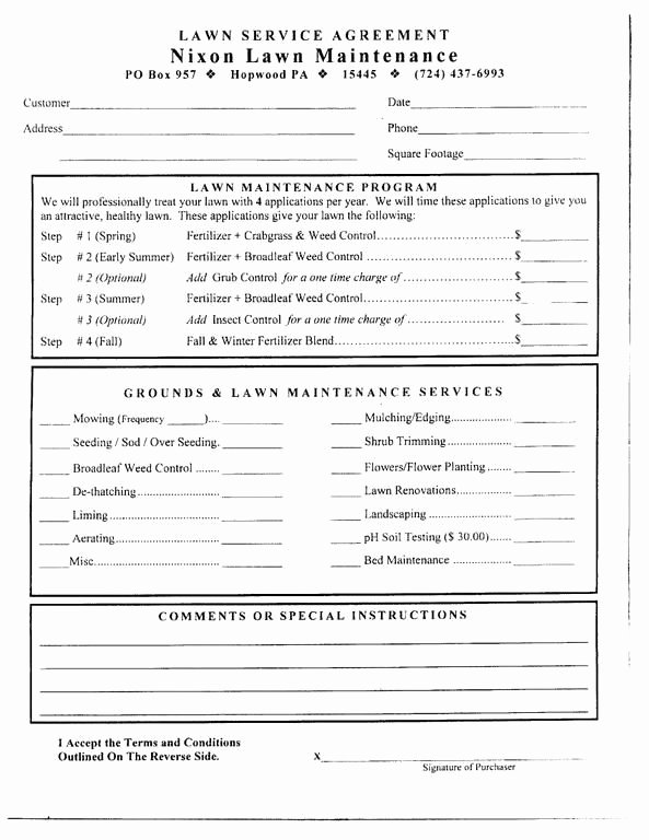 Lawn Care Bid Proposal Template Luxury Free Printable Lawn Care Contract form Generic