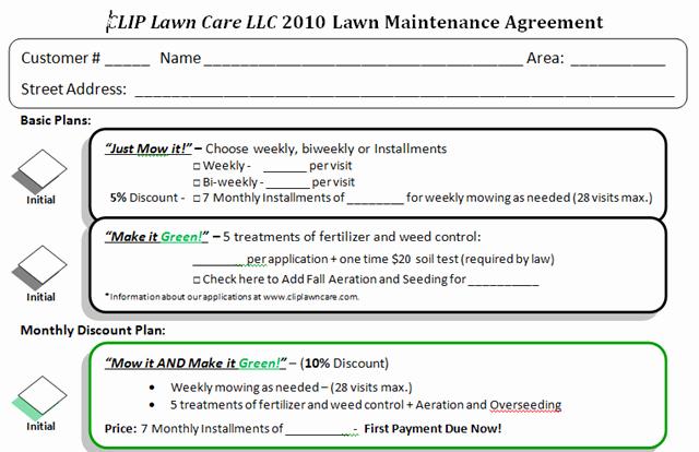Lawn Care Contract Template Elegant Lawn Care Bid Templates