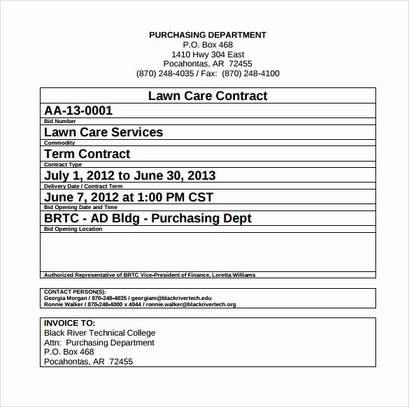 Lawn Care Contract Template Elegant Lawn Service Contract Template 10 Download Documents In