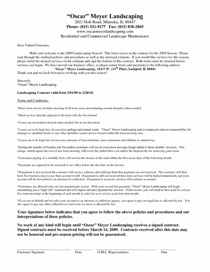 Lawn Care Contract Template Free Awesome 25 Unique Contract Agreement Ideas On Pinterest