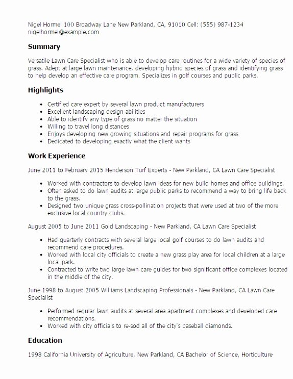 Lawn Care Contract Template Free Awesome 6 Lawn Mowing Contract Template Rotui