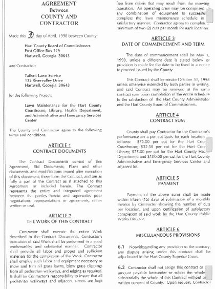 Lawn Care Contract Template Free Awesome Free Printable Lawn Care Contract form Generic