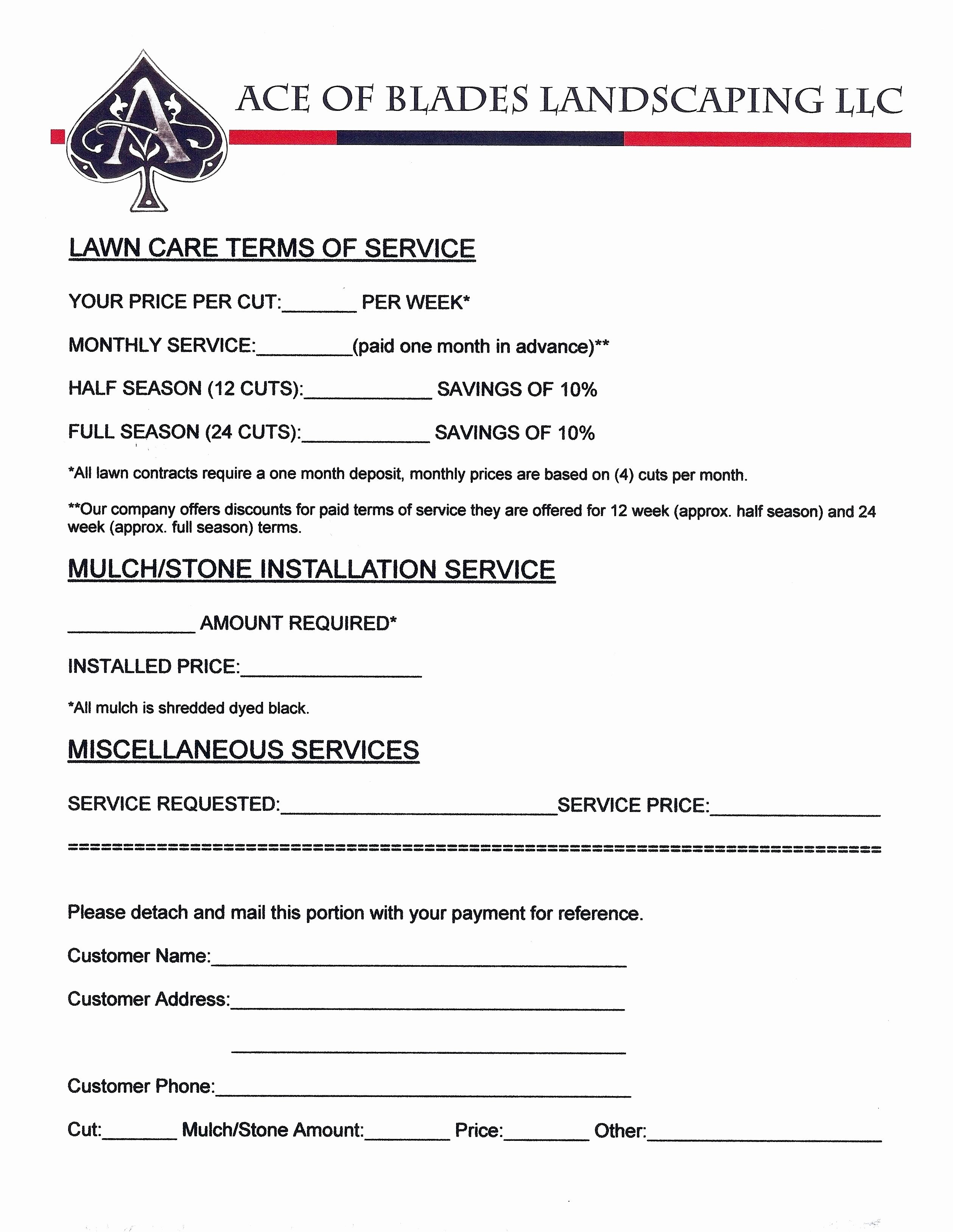 Lawn Care Contract Template Free Awesome Samples Lawn Care Quotes Quotesgram
