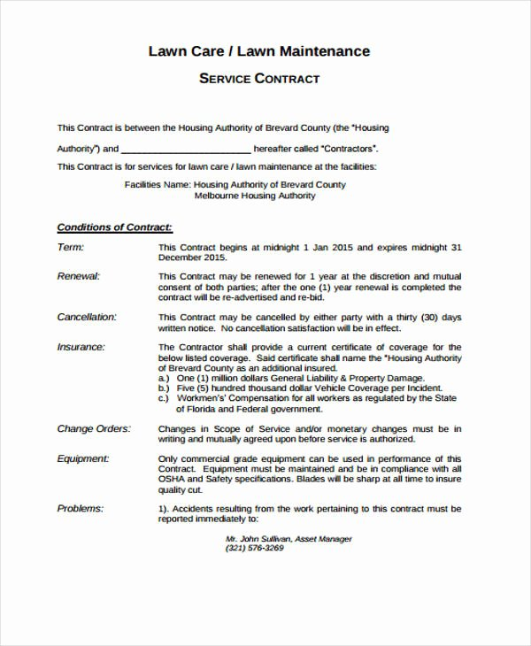 Lawn Care Contract Template Free Elegant 10 Lawn Service Contract Templates Free Sample Example