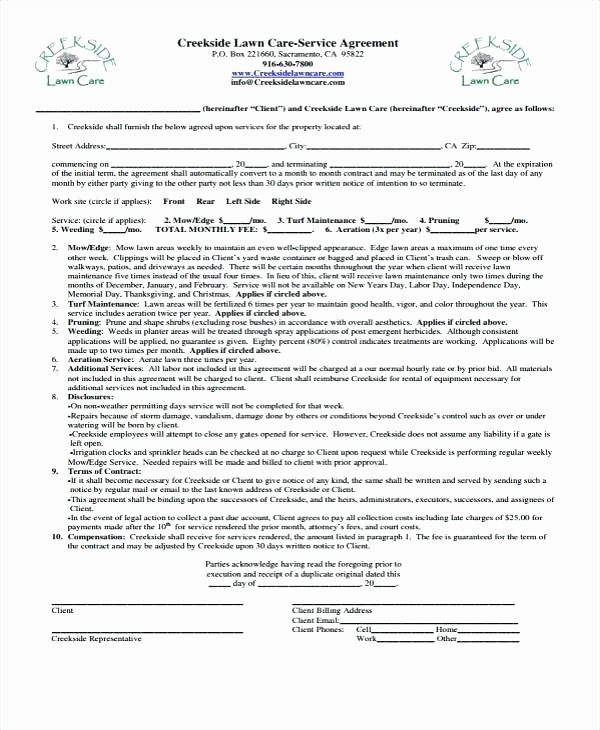 Lawn Care Contract Template Free Fresh Funk Lawn Care – Guiascolombia