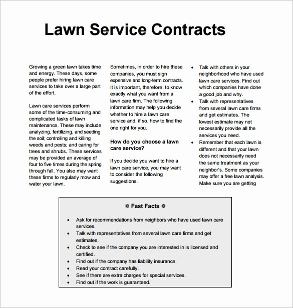 Lawn Care Contract Template Free Inspirational 9 Lawn Service Contract Templates Pdf Doc