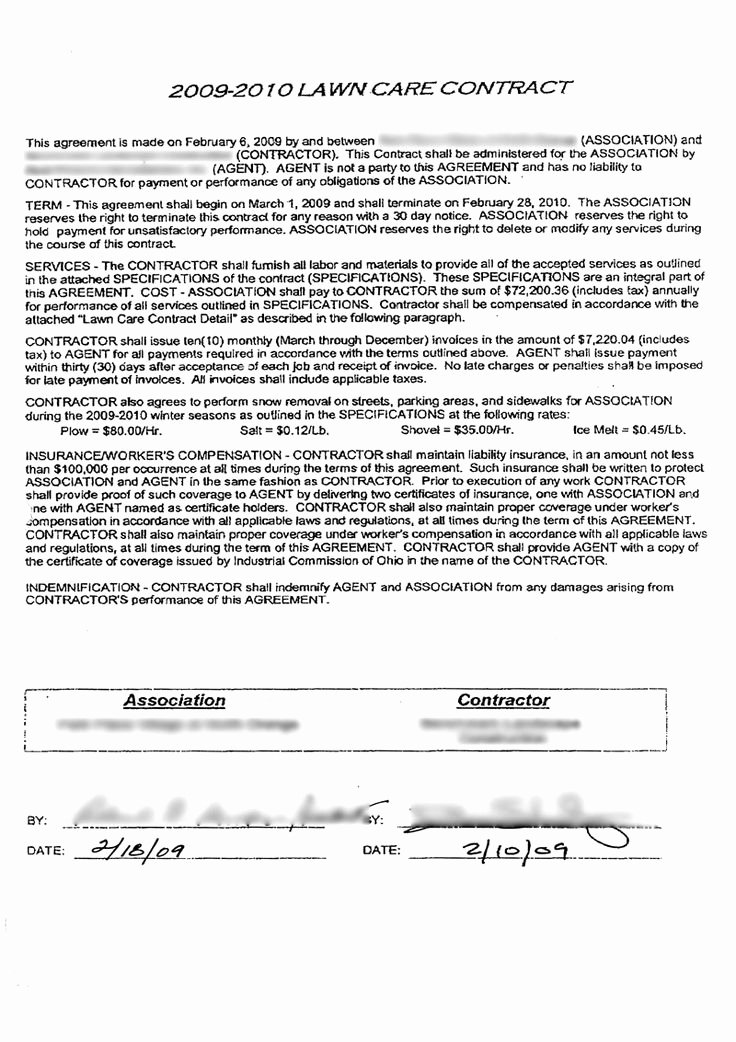 Lawn Care Contract Template Free Inspirational A Look at A $72 200 Mercial Lawn Care Contract