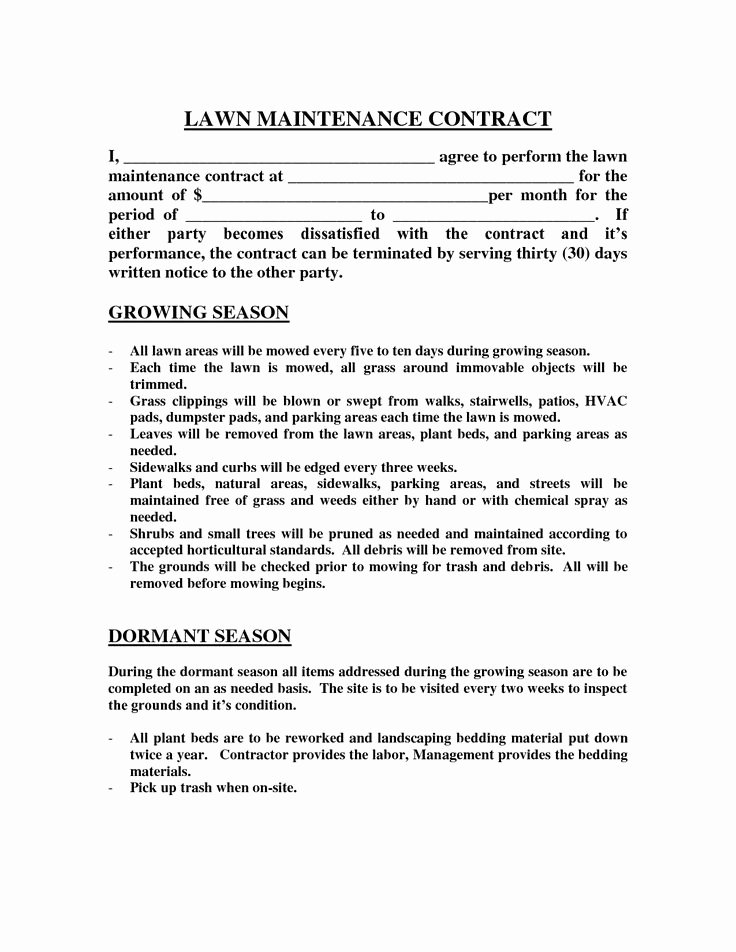 Lawn Care Contract Template Free Inspirational Best 25 Lawn Mowing Business Ideas On Pinterest