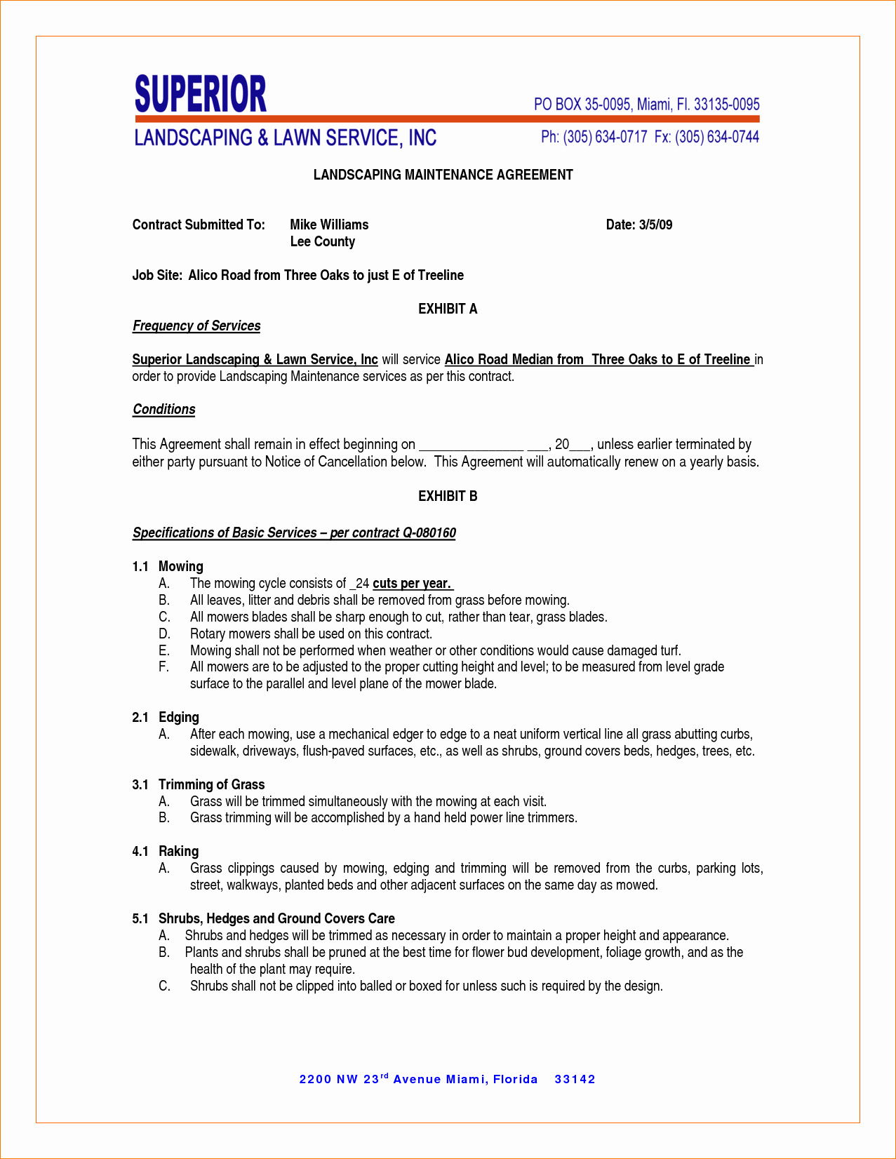 Lawn Care Contract Template Free Lovely Landscape Bid Templates