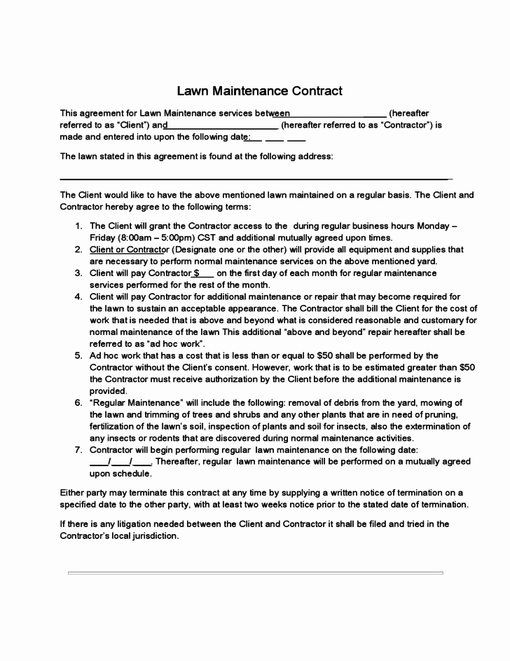 Lawn Care Contract Template Free Lovely Lawn Maintenance Contract Free Download