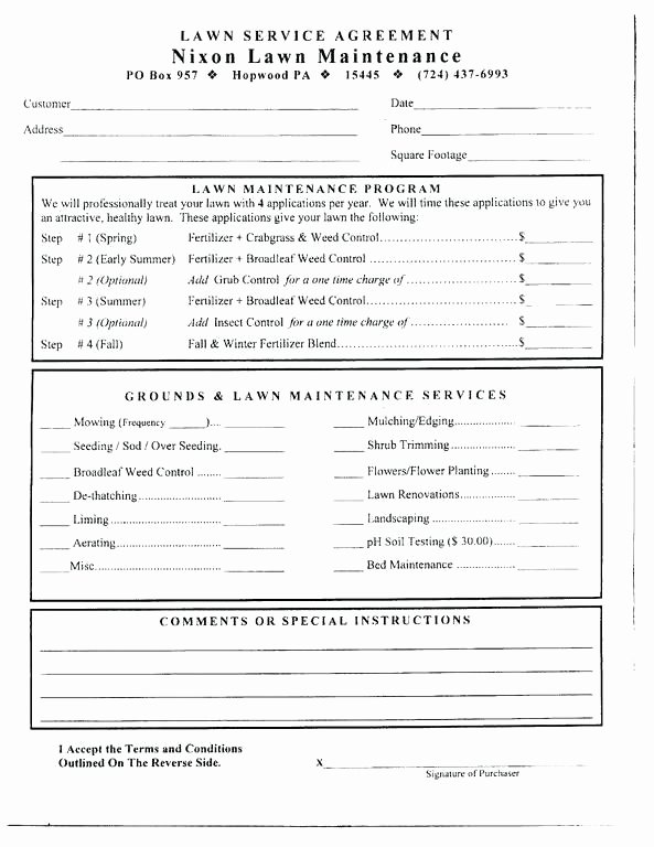 Lawn Care Contract Template Free Luxury Awesome Lawn Care Contract Template Free Mowing Sample
