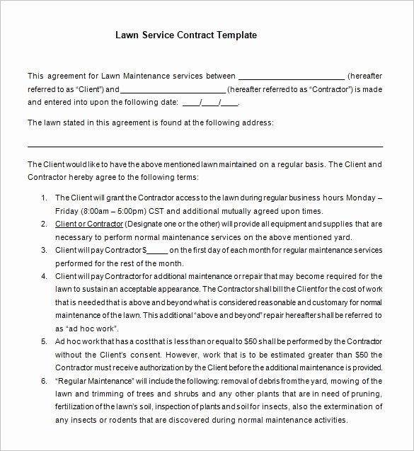 Lawn Care Contract Template Free New 7 Lawn Service Contract Templates – Free Word Pdf