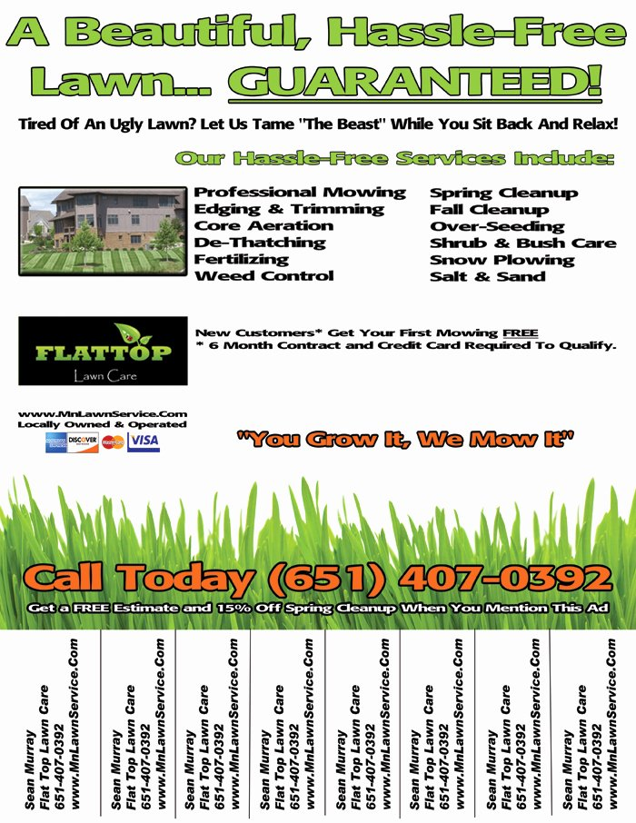 Lawn Care Contract Template Free New Lawn Care Flyer