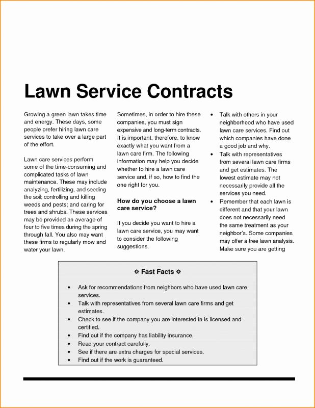 Lawn Care Contract Template Free Unique Landscaping Contract Template