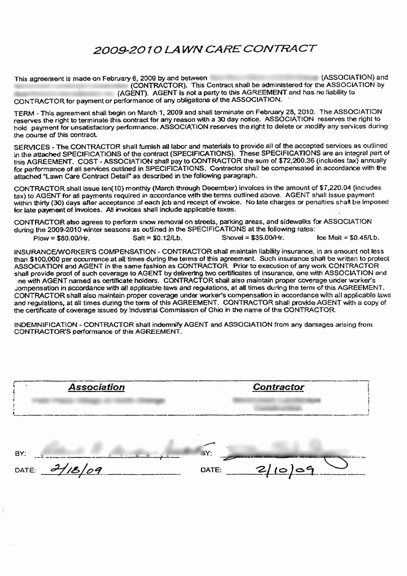 Lawn Care Contract Template Fresh Lawn Care Contract Free Printable Documents