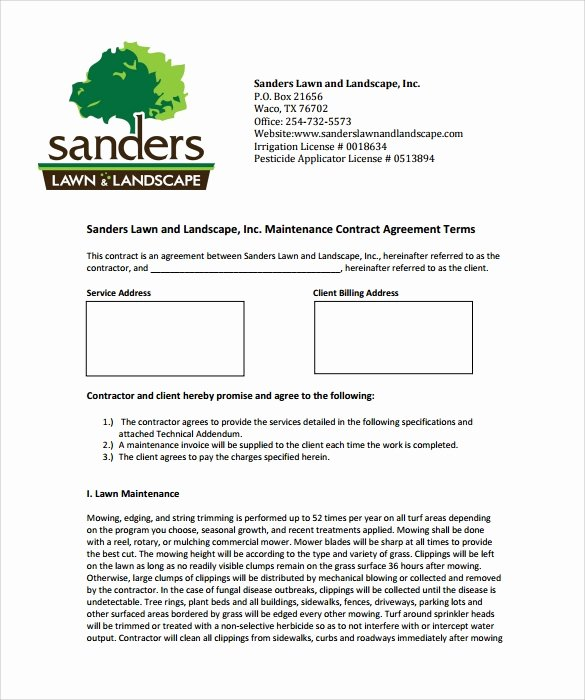 Lawn Care Contract Template Fresh Lawn Service Contract Template 10 Download Documents In