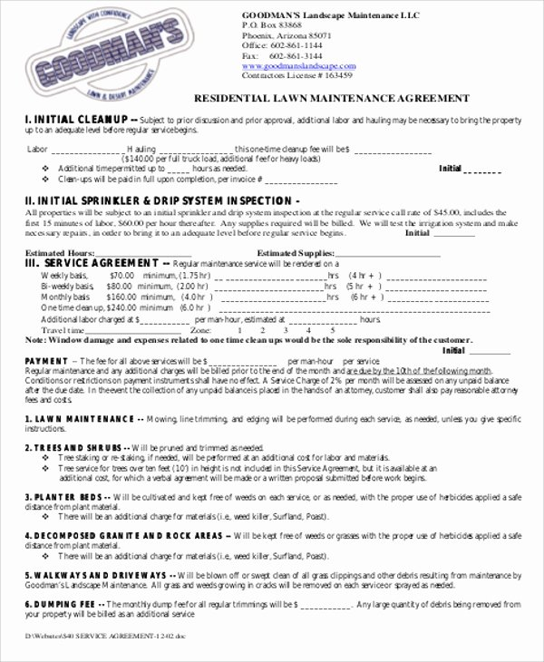 Lawn Care Contract Template Inspirational 6 Sample Maintenance Contract Agreements