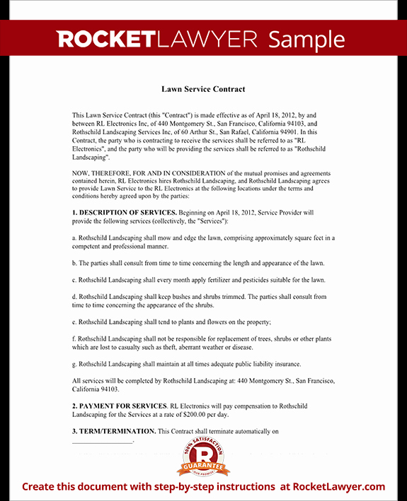 Lawn Care Contract Template Unique Lawn Service Contract Template with Sample