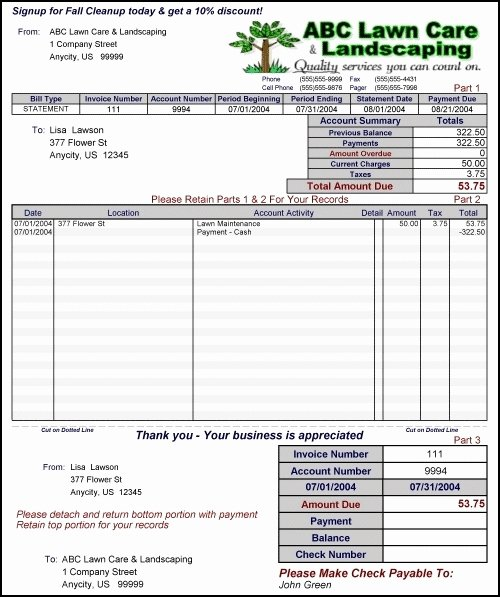 Lawn Care Estimate Template Awesome Free Lawn Care Invoice Template