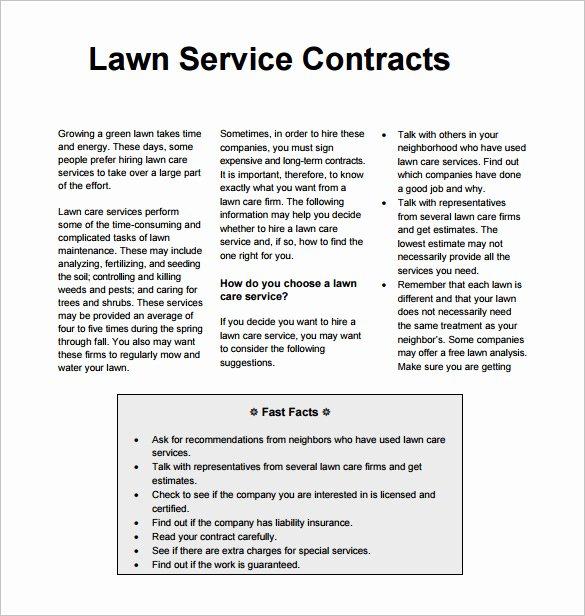 Lawn Care Estimate Template Beautiful 9 Lawn Service Contract Templates Pdf Doc
