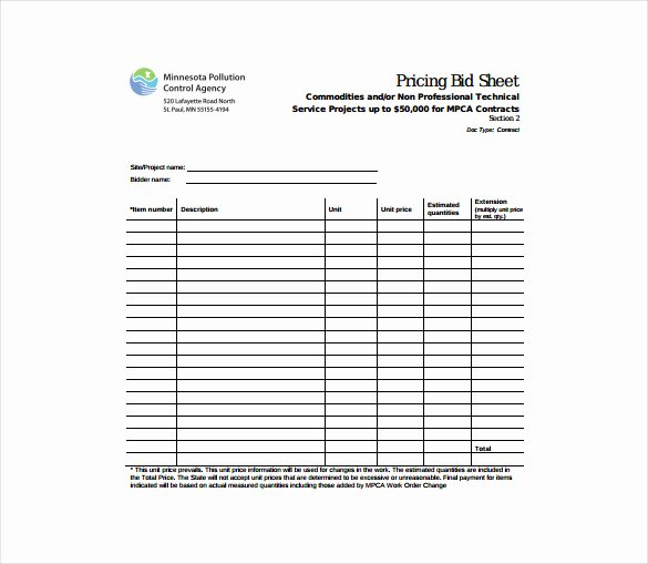 Lawn Care Estimate Template Best Of Bid Sheet Template 10 Free Word Pdf Documents