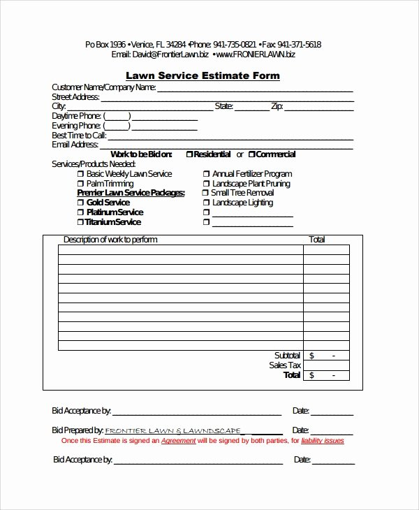 Lawn Care Estimate Template Lovely Sample Service Estimate Template 7 Free Documents