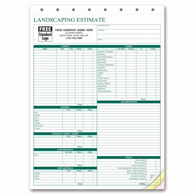 Lawn Care Estimate Template New Landscaping Invoice Work order