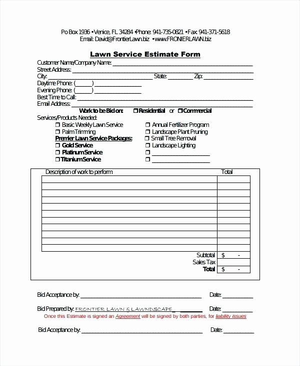 Lawn Care Estimate Template Unique Custom Quote for Landscaping Lawn Maintenance Work order
