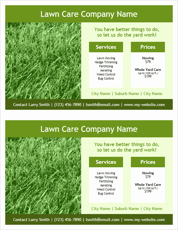 Lawn Care Flyer Template New Lawn Care Flyer Template for Word