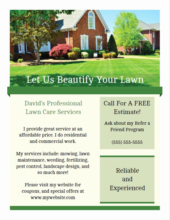 Lawn Care Flyer Template New Printable Lawn Care Business Flyer Templates
