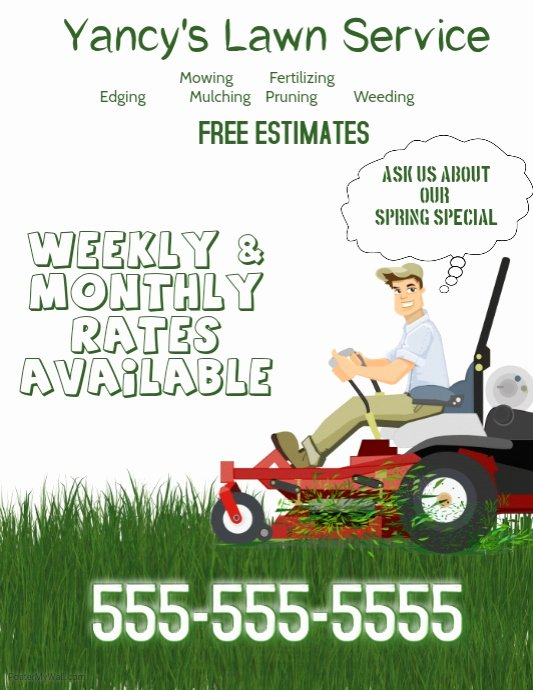 Lawn Care Flyer Template Unique Lawn Service Flyer Template