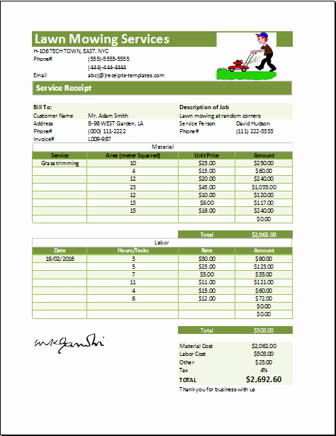 Lawn Care Invoice Template Beautiful Lawn Mowing Receipt Template at Receipts Templates