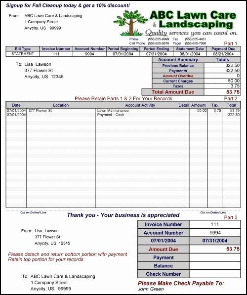 Lawn Care Invoice Template Elegant Free Lawn Care Invoice Template