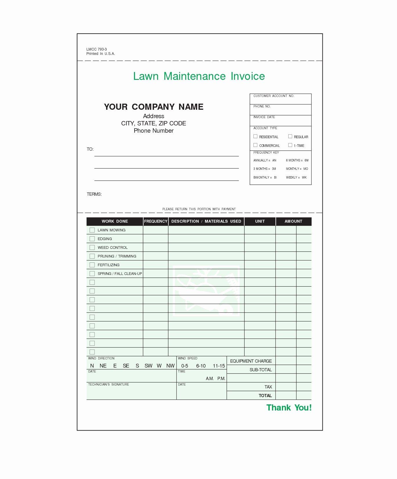 Lawn Care Invoice Template Fresh Lawn Service Invoice Template Invoice Template Ideas