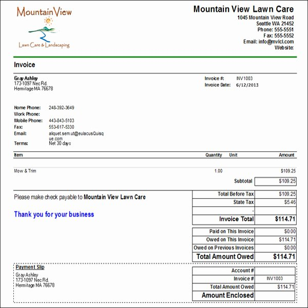 Lawn Care Invoice Template Lovely Samples Lawn Care Quotes Quotesgram