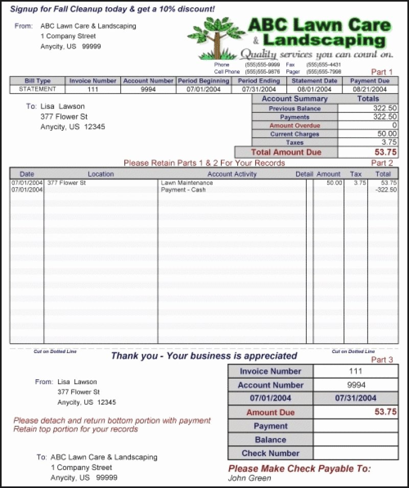 Lawn Care Invoice Template Pdf Beautiful Lawn Care Invoice